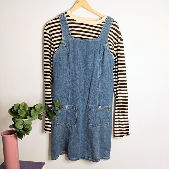 988dd66d85 Vintage 80 s Jean   Denim Overall Jumper Dress. M 5b85d534534ef9205ef3b1f9